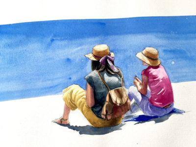 Noies amb barrets de palla